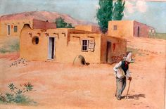 """Mexican Man with a Cane Walking Before Pueblo Houses"".  Theodore Gentilz"