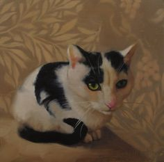 Juliette the black spotted cat from the Cleveland APL, painting by artist Diane Hoeptner