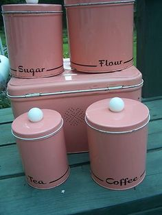 Vintage 9 Pc Pink Retro Metal Cannister Set Tea Coffee Sugar Flour w Breadbox