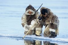 Inuit hunters in the north, Baffin Island, Canada