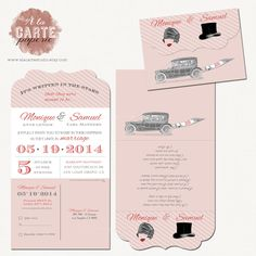 Folded Ornate Vintage Wedding Invitation Cards Peach Colors with Cut-of RSVP cards - Vintage hats. $35.00, via Etsy.