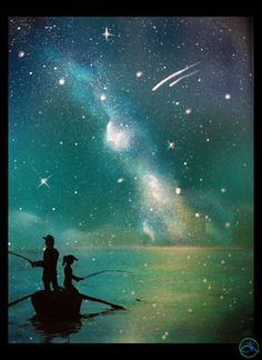 Father Daughter - Painting - Son - Fishing at the Lake - Painting - Stars - Galaxy - Spray Paint Art on Csnavas
