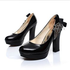 Faux Patent Leather Side Bow Chunky Heels @ MayKool.com