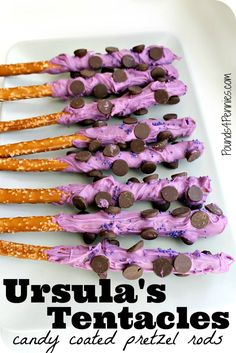 These are so awesome for a Disney Villains party. How fun to make candy coated pretzel rods look like Ursula's tentacles! Also great for a Little Mermaid birthday party.