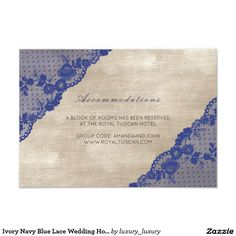 Ivory Navy Blue Lace Wedding Hotel Accomodation 9 Cm X 13 Cm Invitation Card