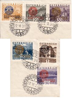 Austria Scott #B87-B92 1931 10g Gussing, 20g Durstein, 30g Seewiessen, 40g Innsbruck, 50g Worthersee and 1S National Library Buildings Overprinted Rotary International Convention Wien 1931 Rotary International Beneficient Funds Semi-Postal with Rotary-Convention-Wien illustrated postmark0 Used on piece.