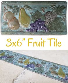 "Verde Fruit 3x6"" Listello $1.99/each Glazed ceramic listello with a mixed fruit design. Pear, grapes, pineapple, and oranges. Colors include teal, green, purple, and gold. Use it between your wall tiles as a decorative border. Wall use only. Actual dimensions: 3"" tall x 5-7/8"" wide x 3/8"" thick Need 100 or more? Contact us for bulk pricing. Backsplash Tile, Wall Tiles, Teal Green, Purple, Decorative Borders, Vintage Bathrooms, Mixed Fruit, Color Tile, Glazed Ceramic"