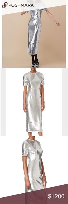 Diane Von Furstenburg Silver Sequin Dress NWT 10 Diane Von Furstenburg Silver Tone Sequin Dress! Tailored fit. Midi length. Fully lined. Short sleeves. Hidden back Zipper. New with tags. Size 10. Item fits true to size. NEW 2017!!!  Designer color: Silver/Nectar Designer ID: 10103DVF Lining composition: 3% Spandex/Elastane & 97% Polyester Outer composition: 18% Spandex/Elastane & 82% Nylon Washing instruction: Dry Clean Only Diane Von Furstenberg Dresses Midi