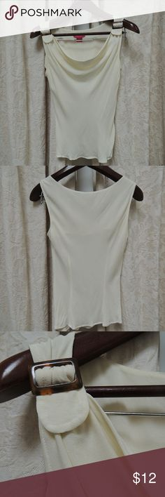 Cream silk sleeveless blouse M Sunny Leigh cream color silk blouse.  Front drapes from buckle.  Picture 4 shows minor spots. Sunny Leigh Tops Blouses
