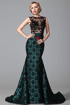 Glamourous Sleeveless Black Lace Floral Skirt Evening Gown (02151205)