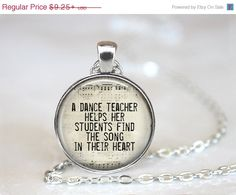 ON SALE Dance Teacher Pendant, Dance Teacher Appreciation, Dance Teacher Gift, Dance, Ballet Teacher Gift