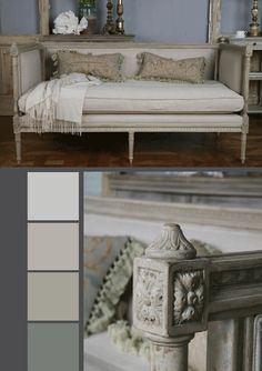 Color palette for Shabby Chic French Country Rustic Swedish Romantic Decor Idea. What I really like about the look is that its simply and not too fluffy, it has an elegant, but not over the top look!