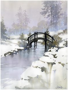 Dawes Bridge - Ohio by Thomas W. Schaller Watercolor ~ 24 inches x 18 inches