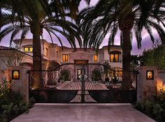 Palm tree lined and gated entrance to an awesome house some place tropical