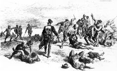 Spanish slaughtering French Huguenots in Florida