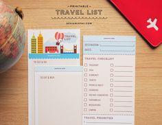 wow! Imprimible para llevar en vacaciones: lo que queremos ver, donde queremos comprar o comer y un checklist para no olvidarnos nada // Printable Travel List   DESIGN IS YAY!