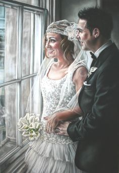 """Wedding portrait in pastels.  14""""x20"""" Portrait done from photographs.  All images ©Emma Colbert.  Available for commissions  http://www.emmacolbertart.com/"""