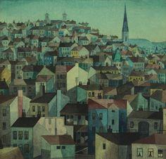 Vlastimil Beneš 1919-1981 Žižkov Heart Of Europe, Time Travel, Painters, Modern Art, Buildings, Landscapes, 1, Urban Landscape, Paisajes