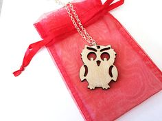 Wood owl necklace  Laser cut from birch wood owl gift owl