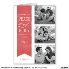 Peace Love & Joy Holiday Greeting Card - Red