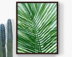 Printable Green Tropical Leaf Print Palm Leaf by RepublicaDeCali