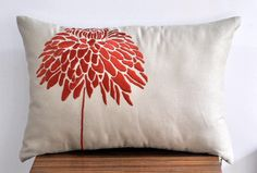 Orange Peony Lumbar  Pillow Cover  12 x 18 Decorative by KainKain, $21.00