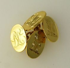 Gold cufflinks engraved by hand Signet Ring, Ds, Cufflinks, Rings, Gold, Accessories, Jewelry, Jewlery, Jewerly