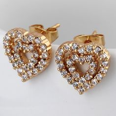 12mm 18K Gold Plated Fashion Dual Heart  Shaped Inlay Ziron Women Ladies Copper Earrings