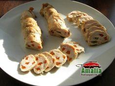 rulada_de_pui_aperitiv_0 Nutella, Sausage, Food And Drink, Cheese, Chicken, Meat, Ethnic Recipes, Happy Birthday, Happy Brithday