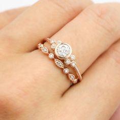 Rose gold engagement ring set, .30~.35ct F SI 3EX GIA certified diamond ring, diamond eternity ring, Unique wedding ring, ado-r101 ado-w102