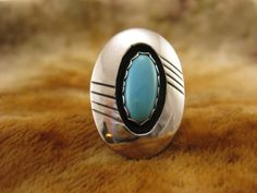Size 6.25  Vintage Oval Turquoise Sterling by Worldwideoddities