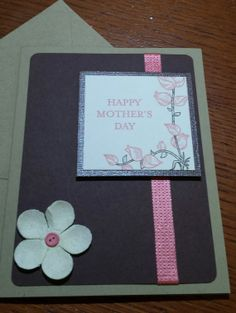 Handmade happy mothers day card brown and pink flower theme