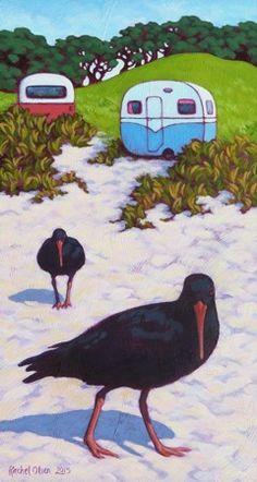 Rachel Olsen Artist - buy Original New Zealand Art Polymer Clay Painting, Bird Artists, New Zealand Art, Nz Art, Kiwiana, Olsen, Bright Colors, Wild Flowers, Art Ideas