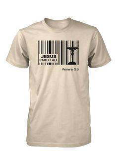 Jesus Paid Price Bar Code God Christian T-shirt for Men