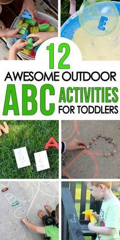 ALPHABET ACTIVITIES FOR TODDLERS: Check out these awesome alphabet activities for toddlers and preschoolers; learn the alphabet with sensory activities; alphabet learning with quick and easy indoor activities; learning letters with fun outdoor activities Indoor Activities For Toddlers, Outside Activities, Outdoor Activities For Kids, Toddler Learning Activities, Alphabet Activities, Outdoor Learning, Learning Letters, Toddler Preschool, Alphabet