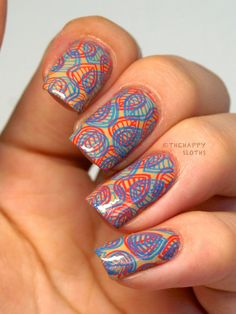 The Happy Sloths: Neon on Nude Double Stamping Nail Art Design