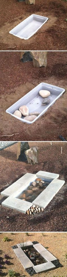 El uso de una tina de almacenamiento como la cuenca de un pequeño estanque de tierra en, sin láminas de plástico / ----------------- Using a storage tub as the basin of a tiny in-ground pond, no plastic sheeting/liner needed.