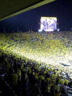 Sea of maize during the first night game versus Notre Dame. It's great to be a Michigan Wolverine! freshmanyearfootball2011 <3
