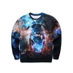 3d3b46a0168ff6 3D Fierce Bear Starry Sky Print Round Neck Long Sleeve Sweatshirt - L   fashion