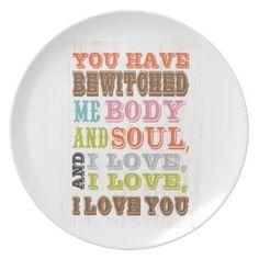 Inspirational Art - I Love You. Plates