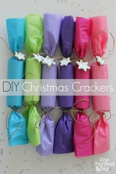 What better way to decorate your Christmas dinner table than with some handmade Christmas crackers? Personalise them to your taste or your colour theme.