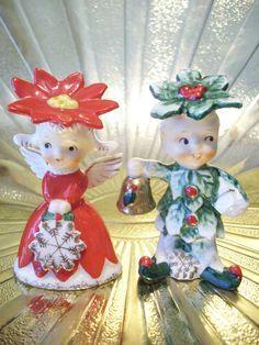 Christmas Pointsettia Angel Girl & Boy Salt & Pepper shakers