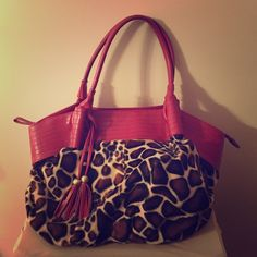♥️Large animal print bag Soft animal print with tassels and red accents Bags Shoulder Bags