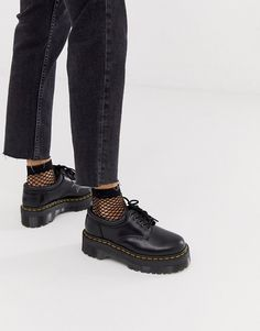 Buy Dr Martens Quad 5 tie stacked leather flat shoes in black at ASOS. Get the latest trends with ASOS now. Dr. Martens, Doc Martens Outfit, Doc Martens Boots, Doc Martens Style, Galaxy Converse, Cute Shoes, Me Too Shoes, Women's Shoes, Shoes Style