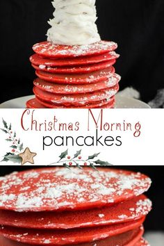 Christmas Morning Pancakes Breakfast These RED CHRISTMAS Gingerbread Pancakes are fun for the holidays! This recipe is easy to make for a family! Serve them with a powdered sugar frosting tree on top! Perfect for Christmas morning breakfast! Gingerbread Pancakes, Christmas Gingerbread, Christmas Sweets, Red Christmas, Christmas Pancakes, Christmas Foods, Christmas Ideas, Holiday Baking, Christmas Baking