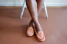 Manimal suede Ribcage moccasin flats in pink clay. $180