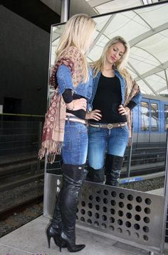 74fbac14f201b2 Blonde in jeans and thigh boots  highheelbootslatex  highheelbootsknee   highheelbootsandjeans Sexy Outfits