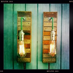 on the porch? in the bedroom? I LOVE these!Pair Vintage Industrial Style Sconces Lamps with Reclaimed Wood Lath, Exposed Edison Bulbs Included. $225.00, via Etsy.