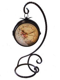 おしゃれ ! 置時計 吊り フック セット ヨーロピアン スタイル アンティーク インテリア 雑貨 置き時計 かわいい レトロ 時計 ブラウン (置時計, ブラウン)