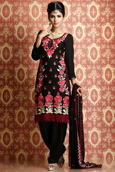 Designer Party Kameez; Black Faux Georgette and Chiffon Party and Festival Embroidered Kameez